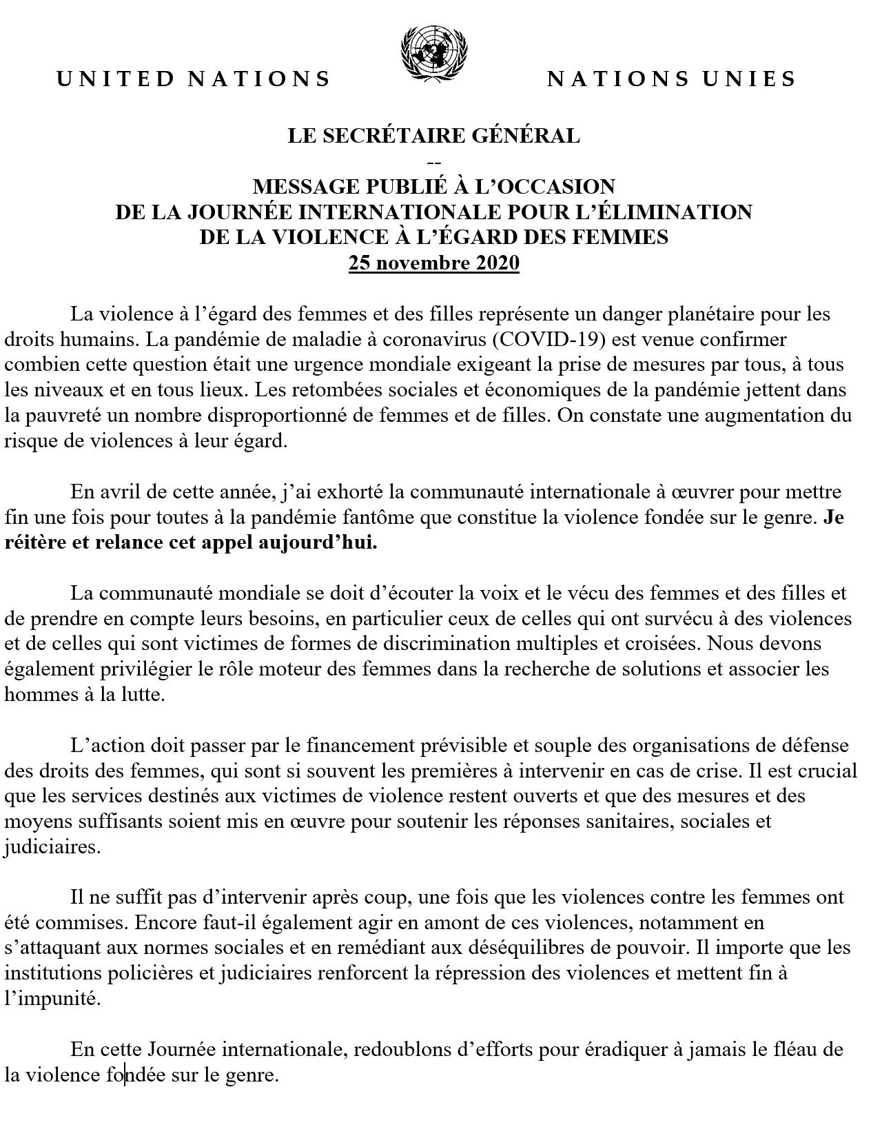 MESSAGE PUBLIÉ À L'OCCASION  DE LA JOURNÉE INTERNATIONALE POUR L'ÉLIMINATION  DE LA VIOLENCE À L'ÉGARD DES FEMMES