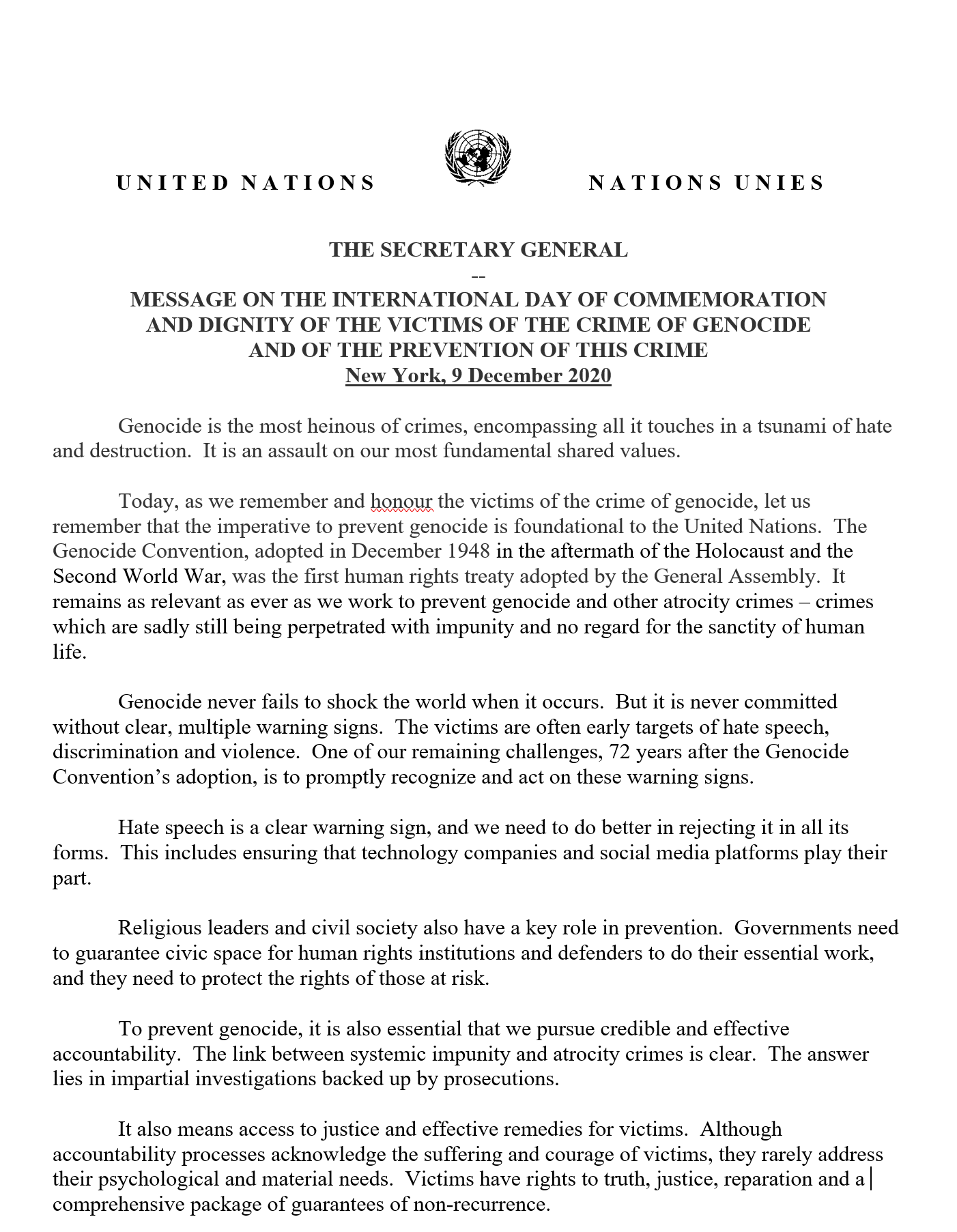 MESSAGE ON THE INTERNATIONAL DAY OF COMMEMORATION AND DIGNITY OF THE VICTIMS OF THE CRIME OF GENOCIDE