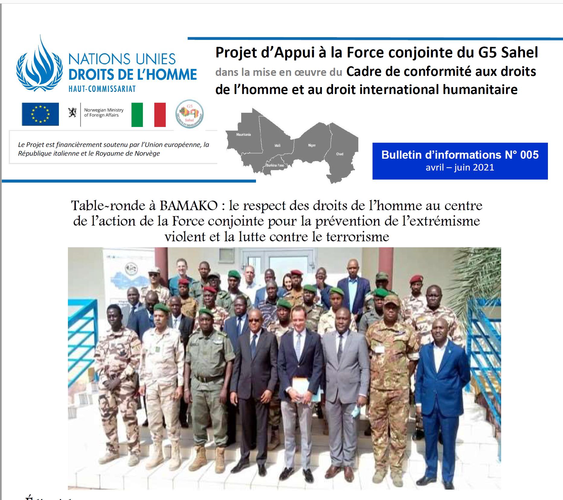 Projet d'Appui à la Force conjointe du G5 Sahel dans la mise en oeuvre du Cadre de conformité aux droits de l'homme et au droit international humanitaire